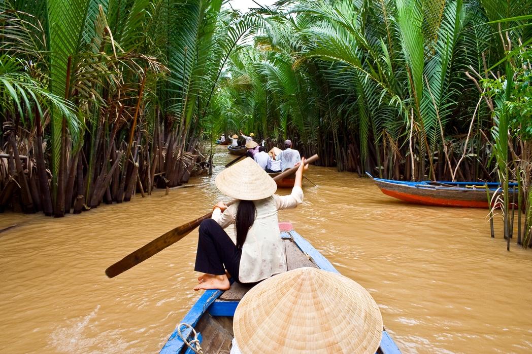 Βαρκάδα στον Ποταμό Μεκόνγκ, κοντά στο Χο Τσι Μινχ του Βιετνάμ
