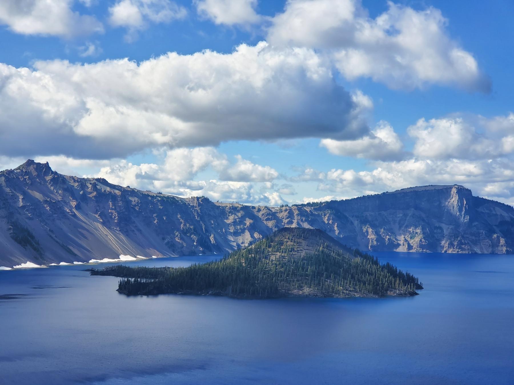 An island inside a blue lake in the Northwest USA