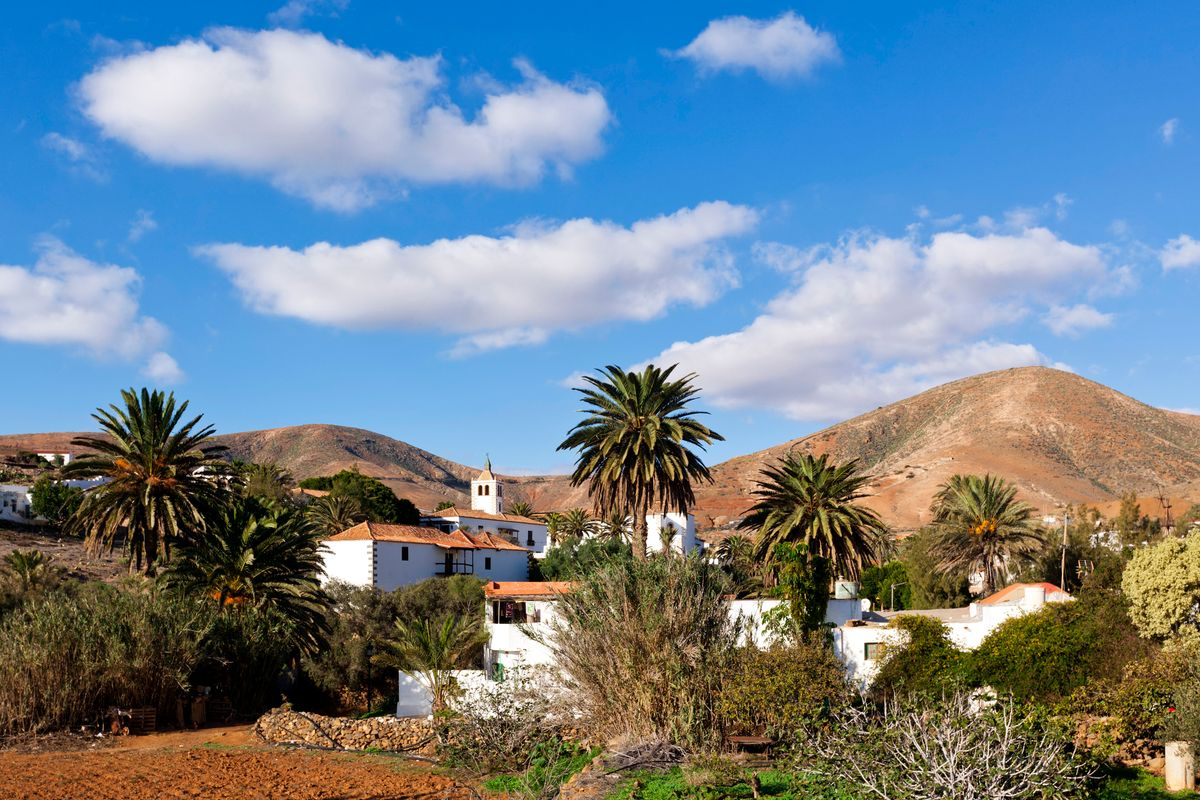 The traditional village of Betancuria among palms in Fuerteventura, Canary Islands