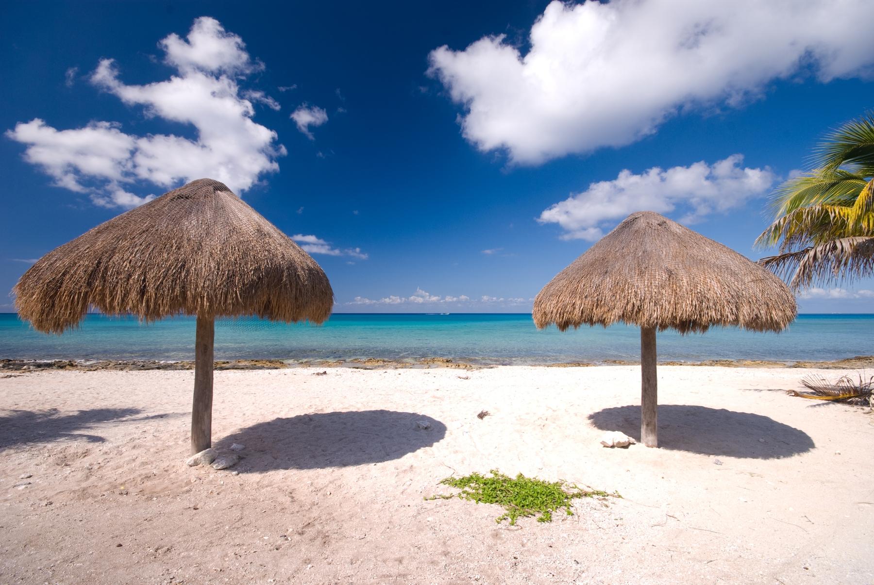 A tranquilidade da beira da praia de Cozumel.
