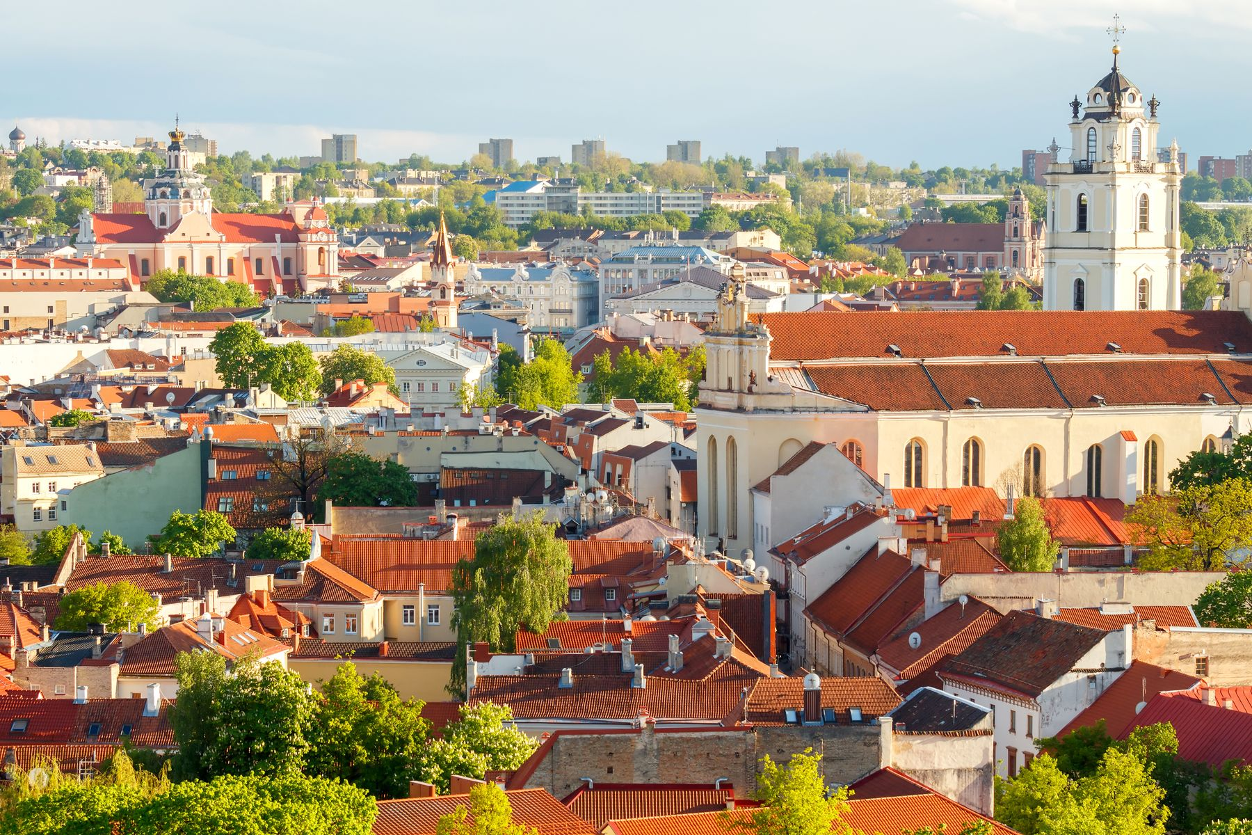 View of old town Vilnius in Lithuania in summer