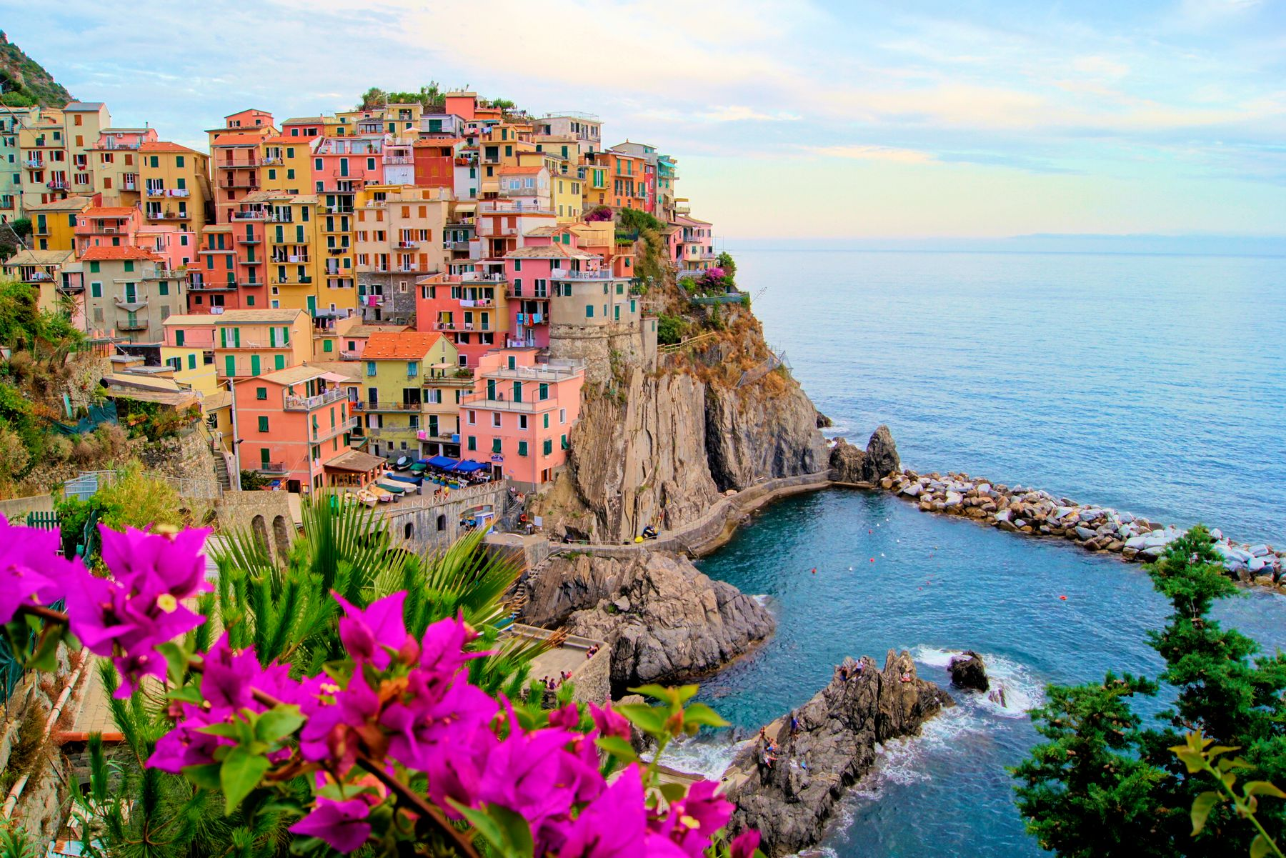 The colourful cliffside houses of Cinque Terre in Italy