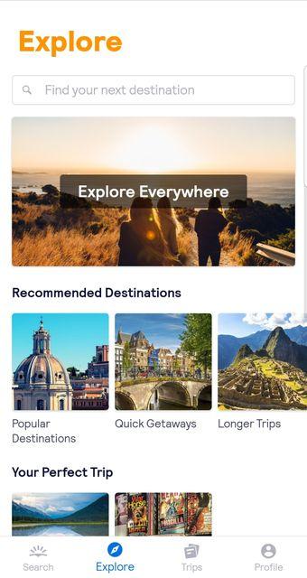 Explore Everywhere option screenshot on the Skyscanner app