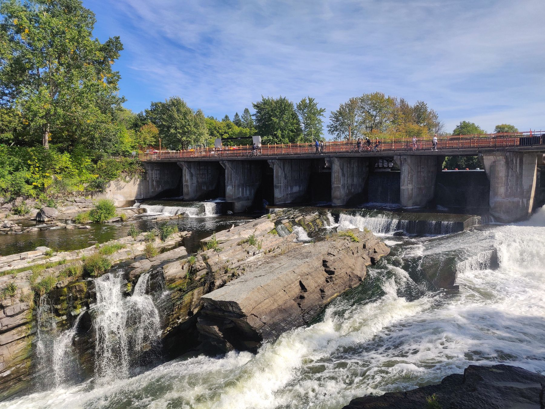 Gushing falls in Hog's Back Park, Ottawa
