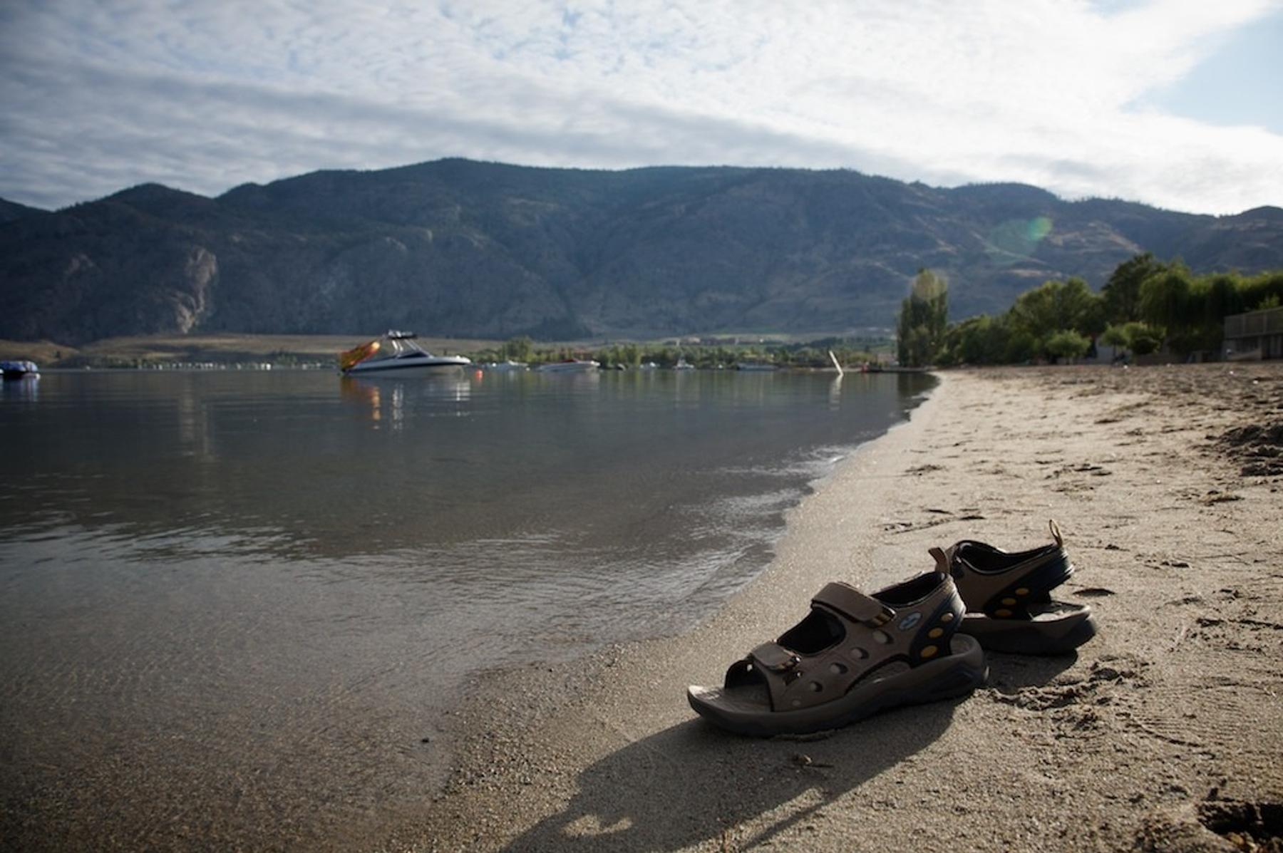 Beachfront daytime with sandals