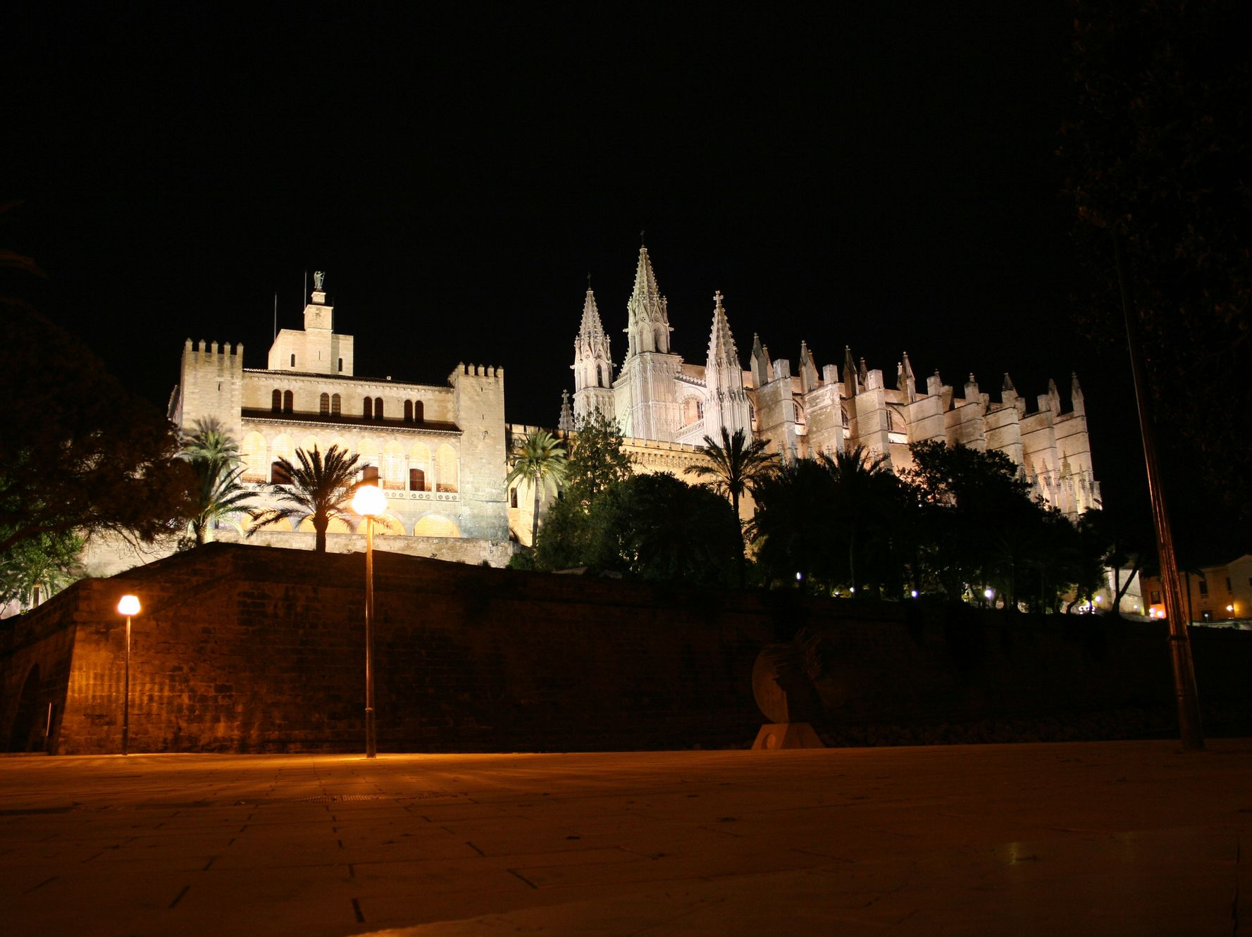 Royal Palace of La Almudaina at night - one of the top attractions in Palma de Mallorca
