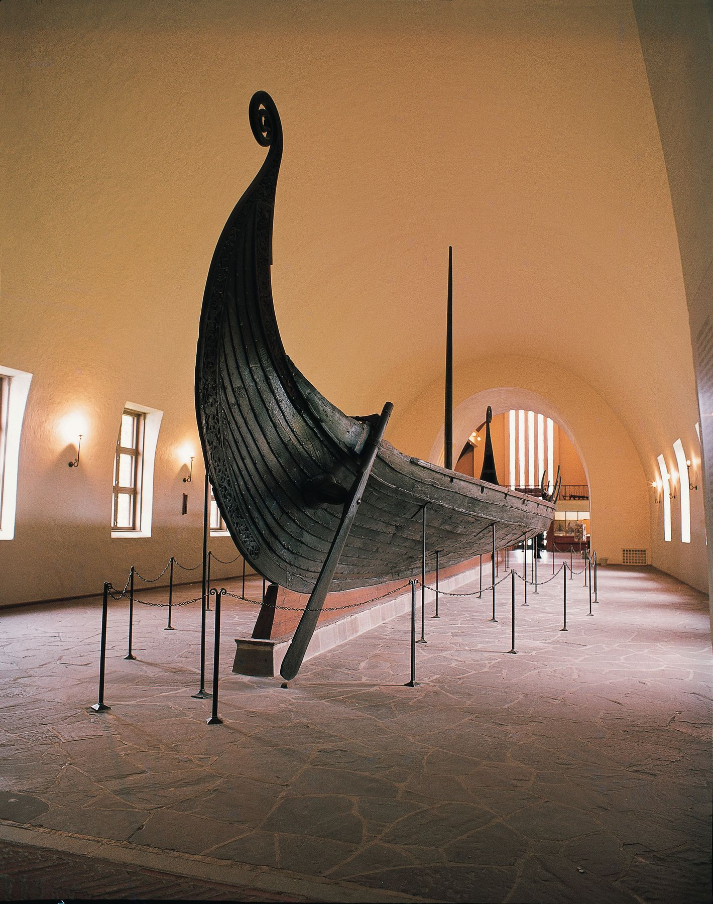 Viking ship in museum hallway