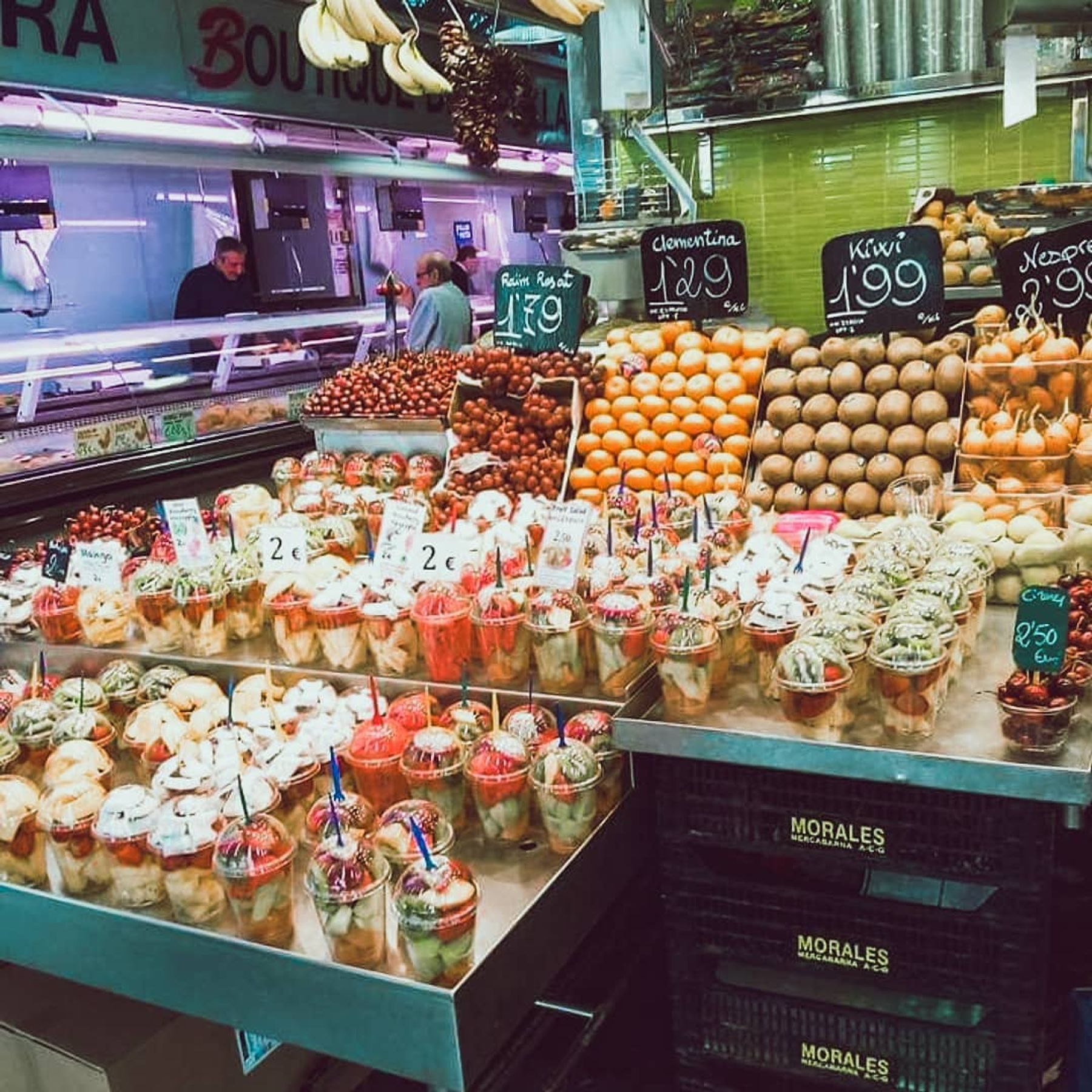 fresh fruit on display at La Boqueria, one of the best free things to do in Barcelona