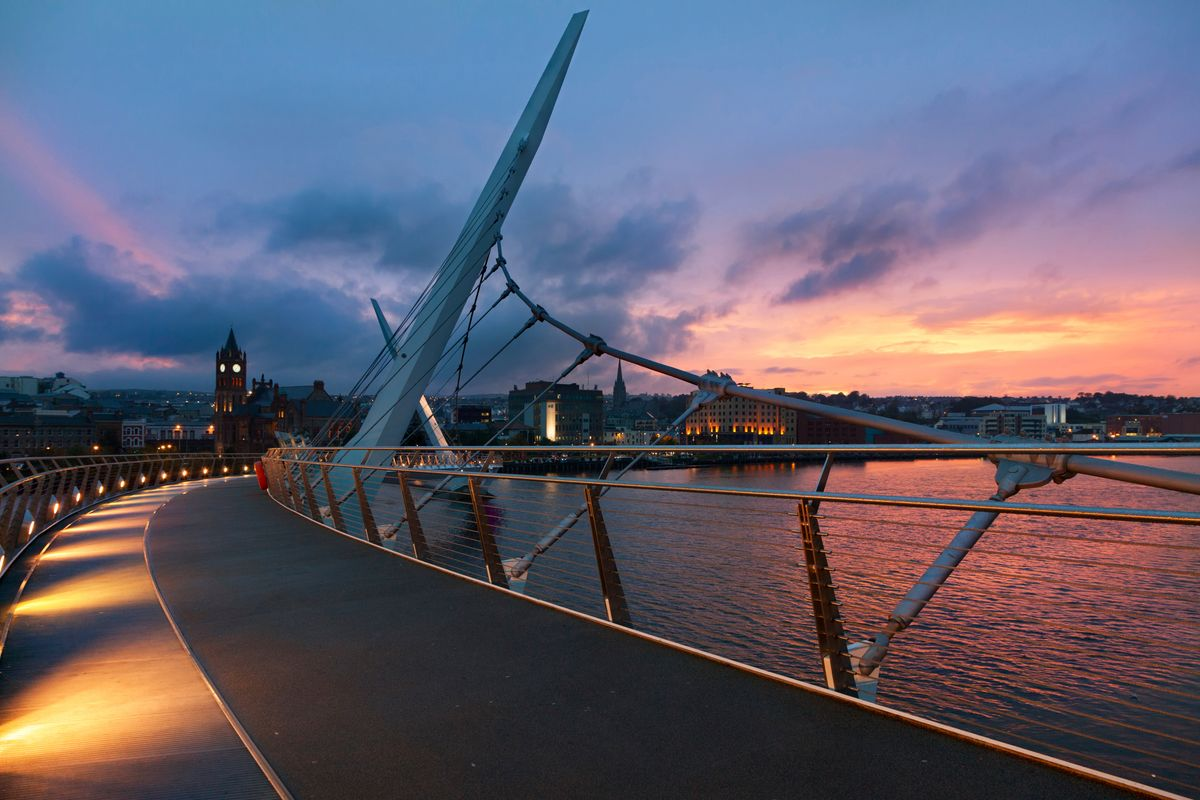 River Foyle in Derry at sunset - one of the best rivers for activities in Ireland