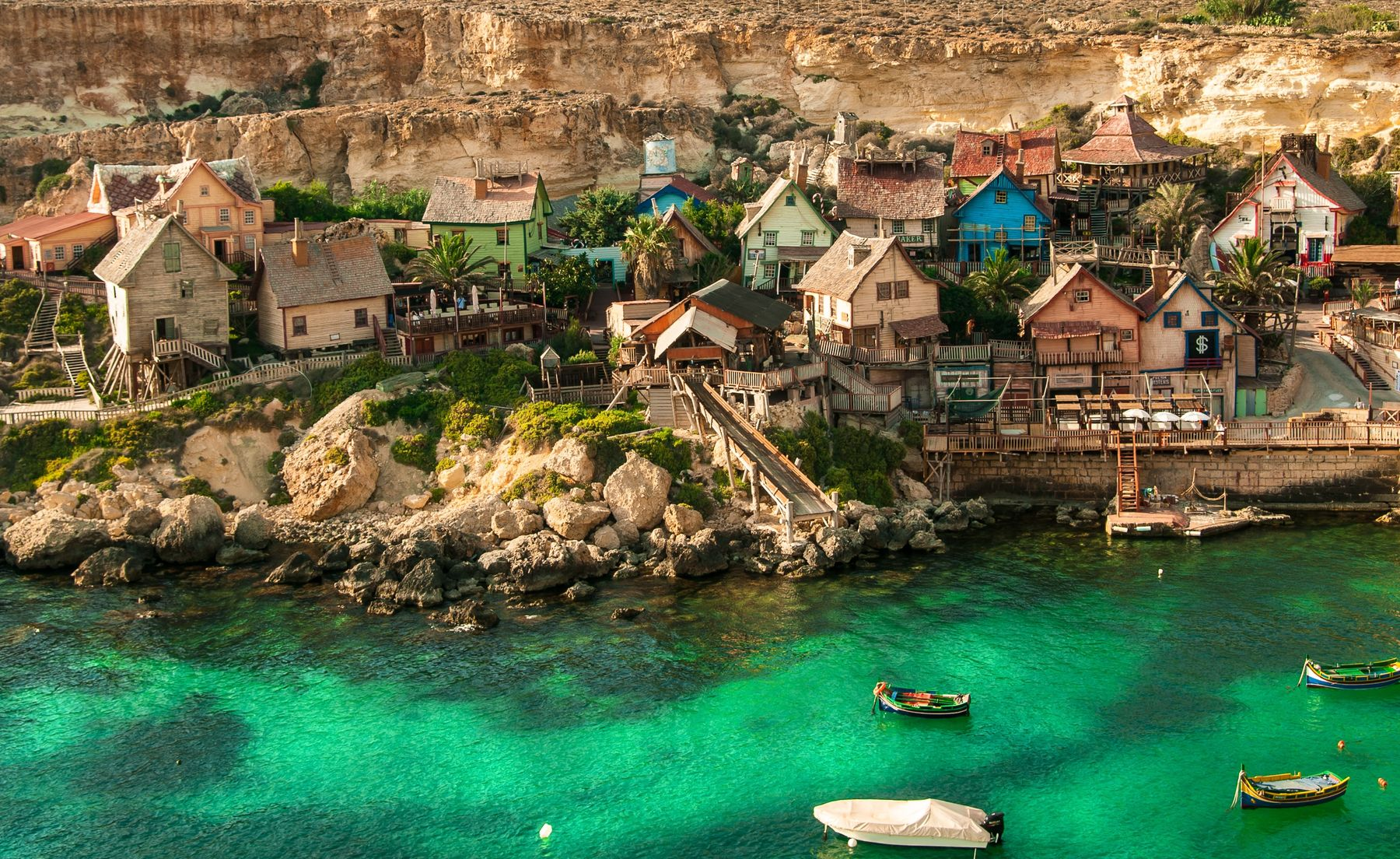 Find great flight deals to Malta and see the Popeye Village in Mellieha in Malta