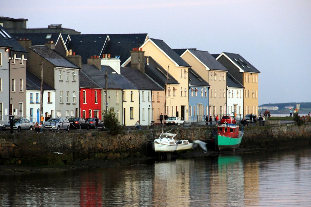 Colourful houses at Galway harbour, Ireland