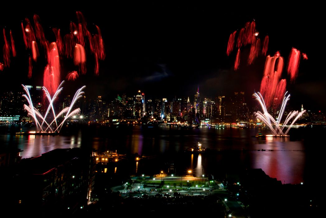 New Year fireworks over Hudson river in Manhattan - top Christmas destinations