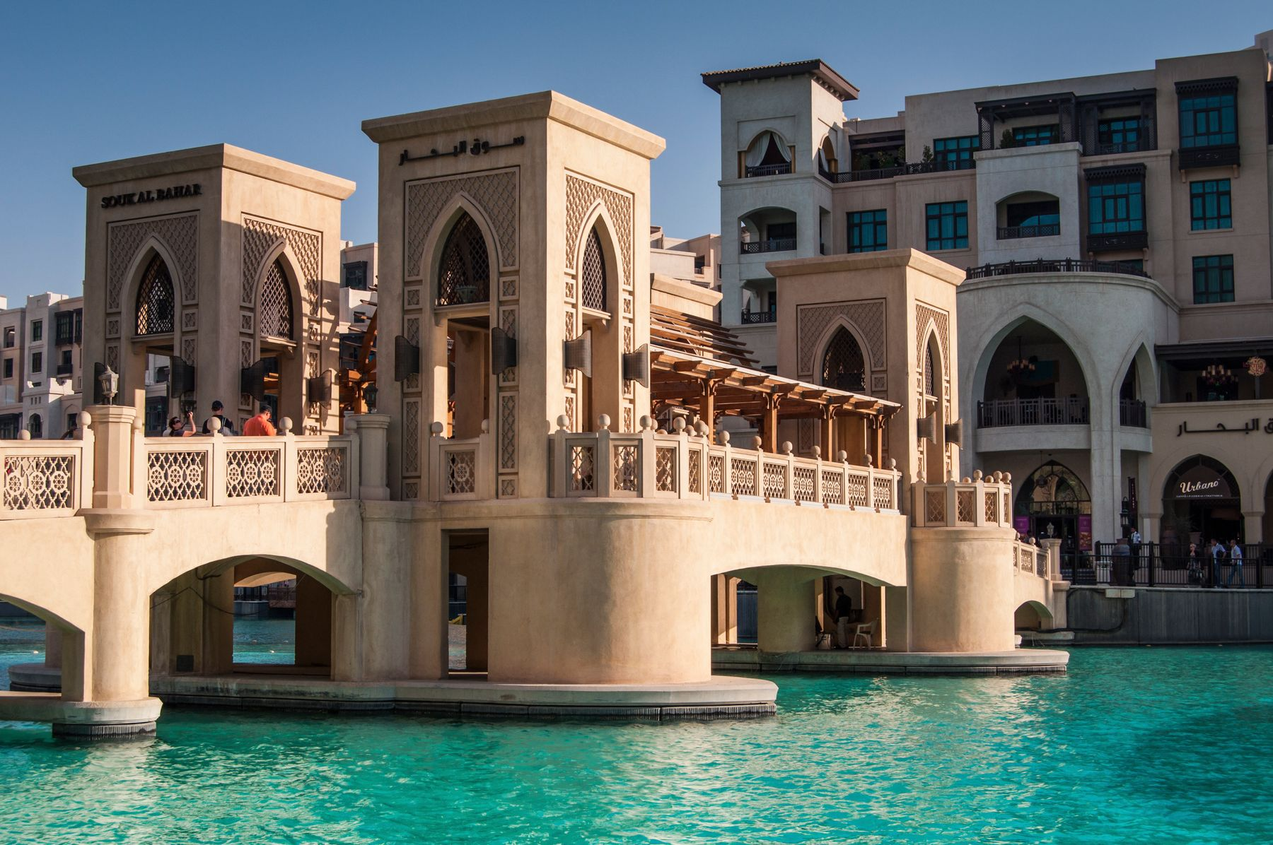 A shopping centre pathway over water in Dubai