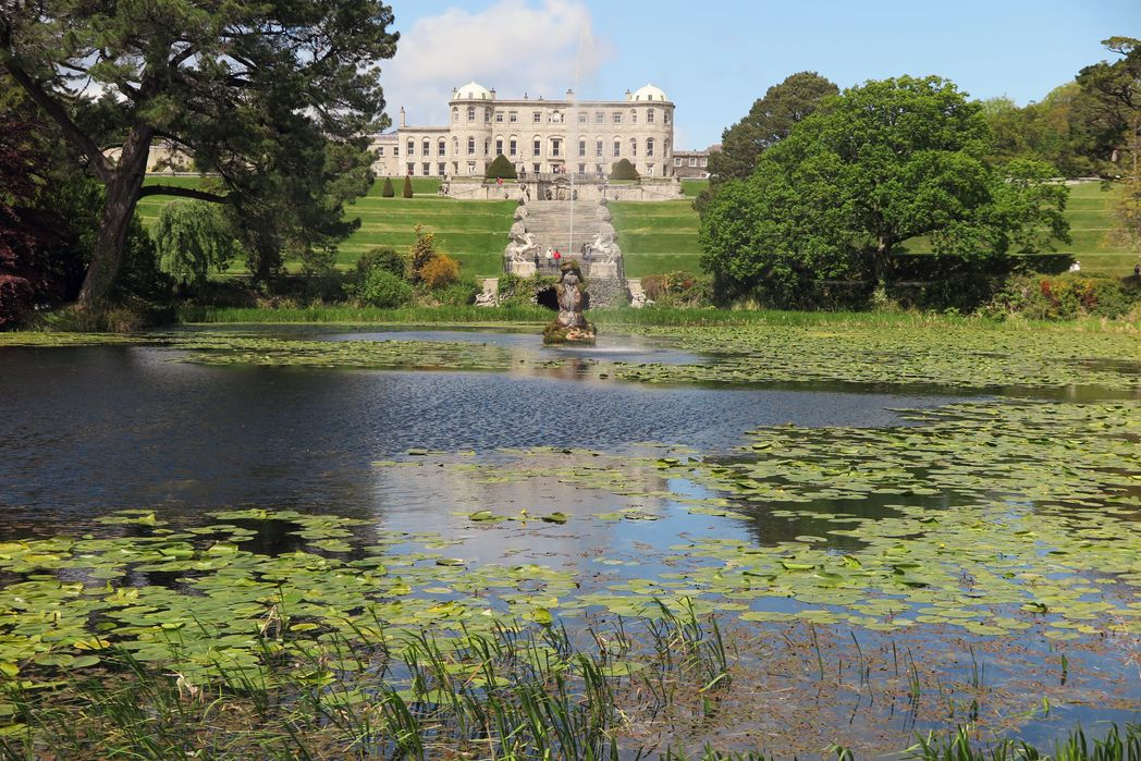 View of the Powerscourt Estate from the pond - a spectacular filming location in Ireland