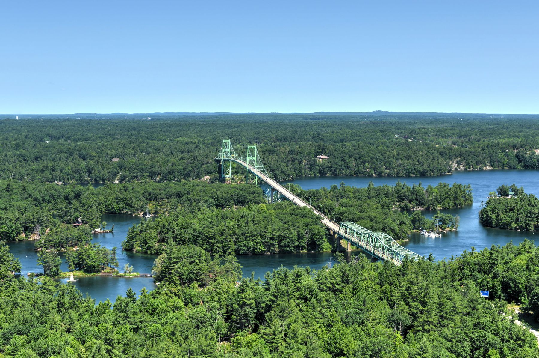 Bridge in Thousand Islands in Ontario during the day