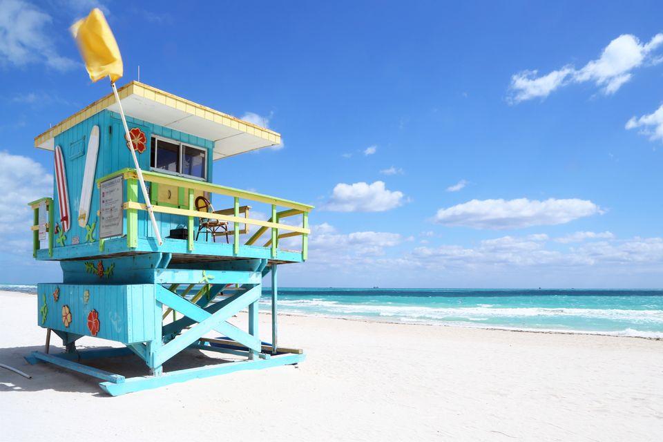 Beach hut in Miami, U.S.A.