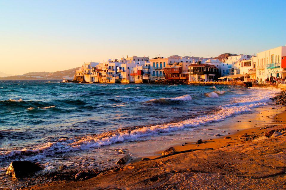 """Little Venice"" - colourful houses on the coast of Mykonos"