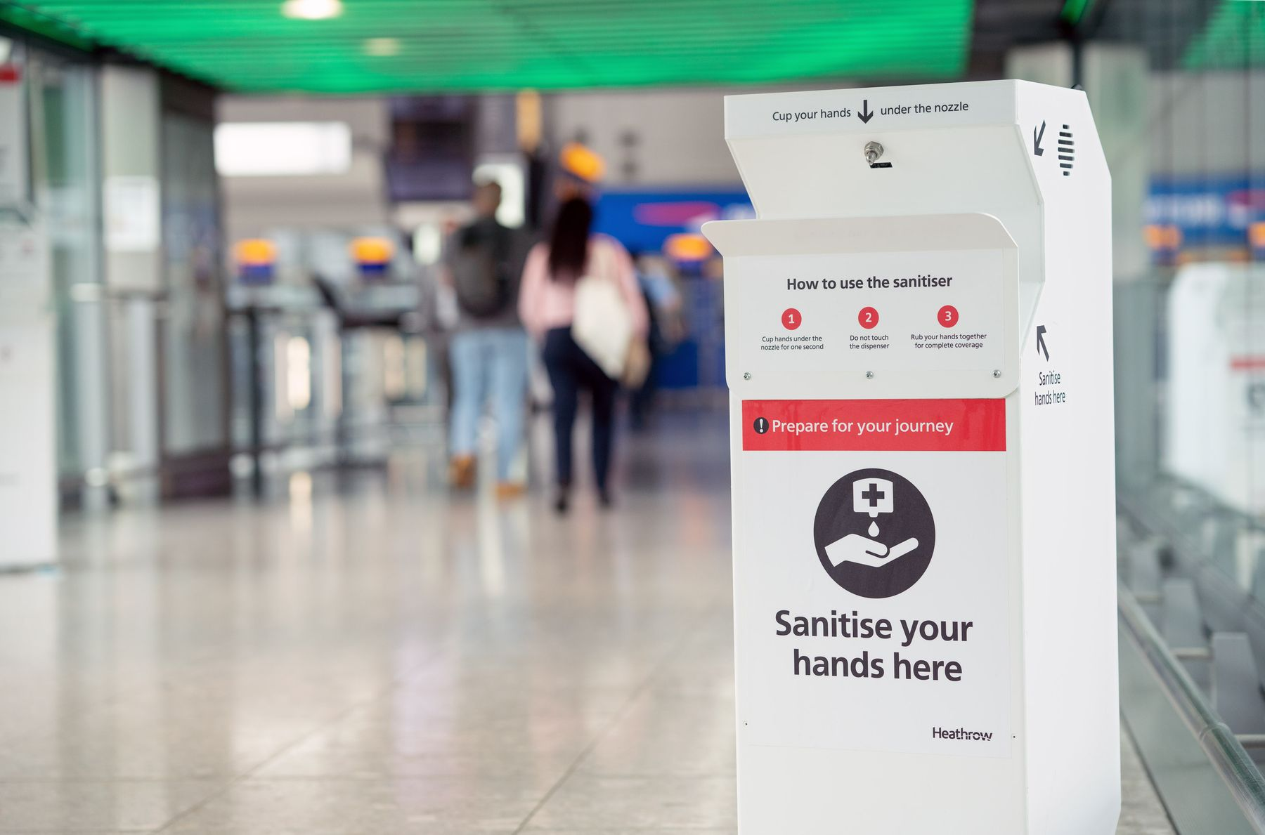 Sanitiser station at Heathrow Airport