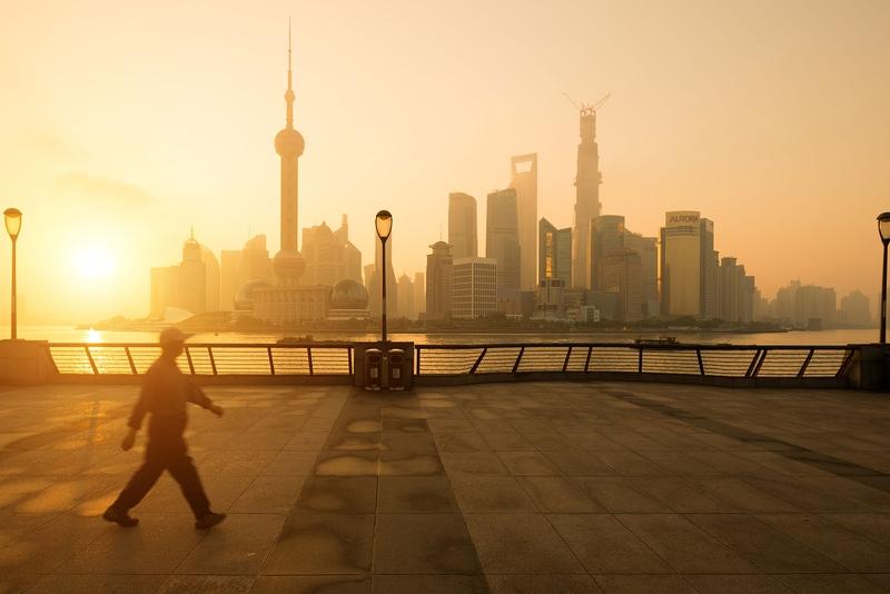 sunrise over the Bond in Shanghai