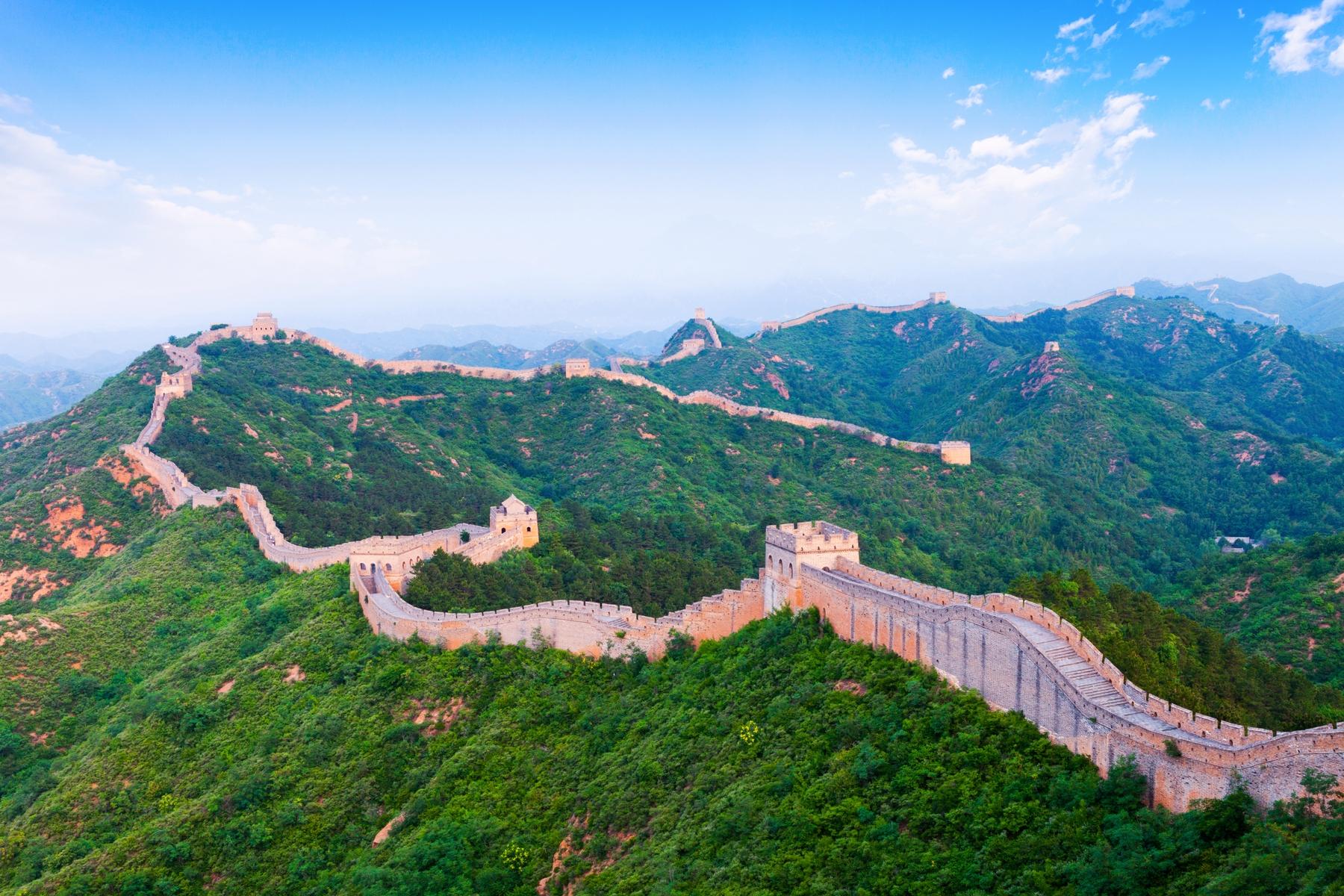 Foto aérea da muralha da China.