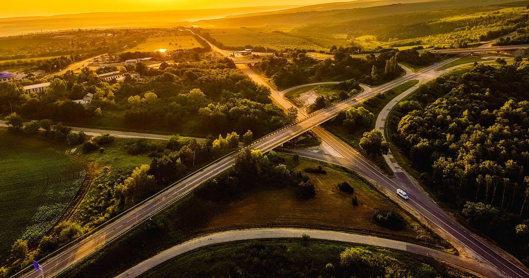 Aerial view of Moldova roadway during sunset