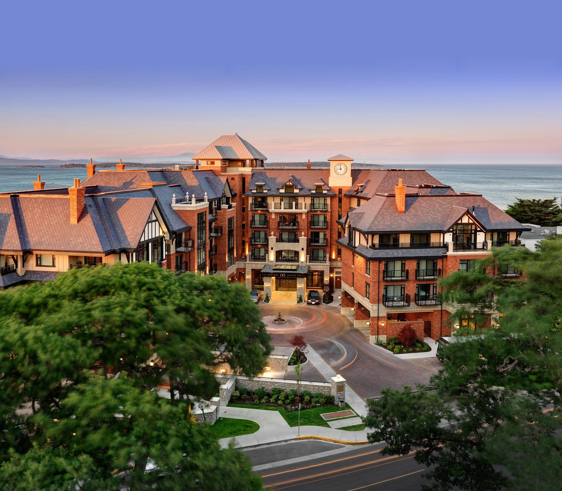Aerial view of Oak Bay beach hotel in Canada