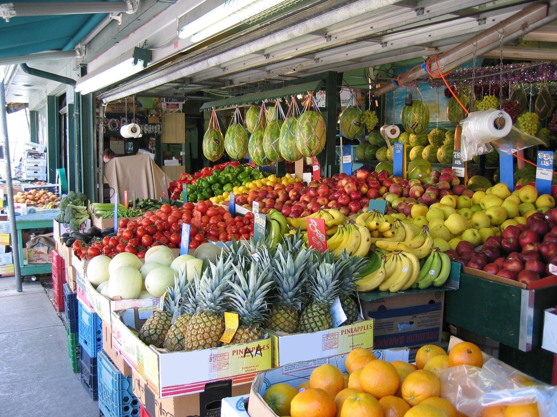 boxes of various fruits at kensington market