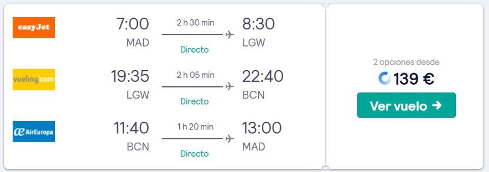 resultados de búsqueda de vuelos con múltiples destinos en Skyscanner