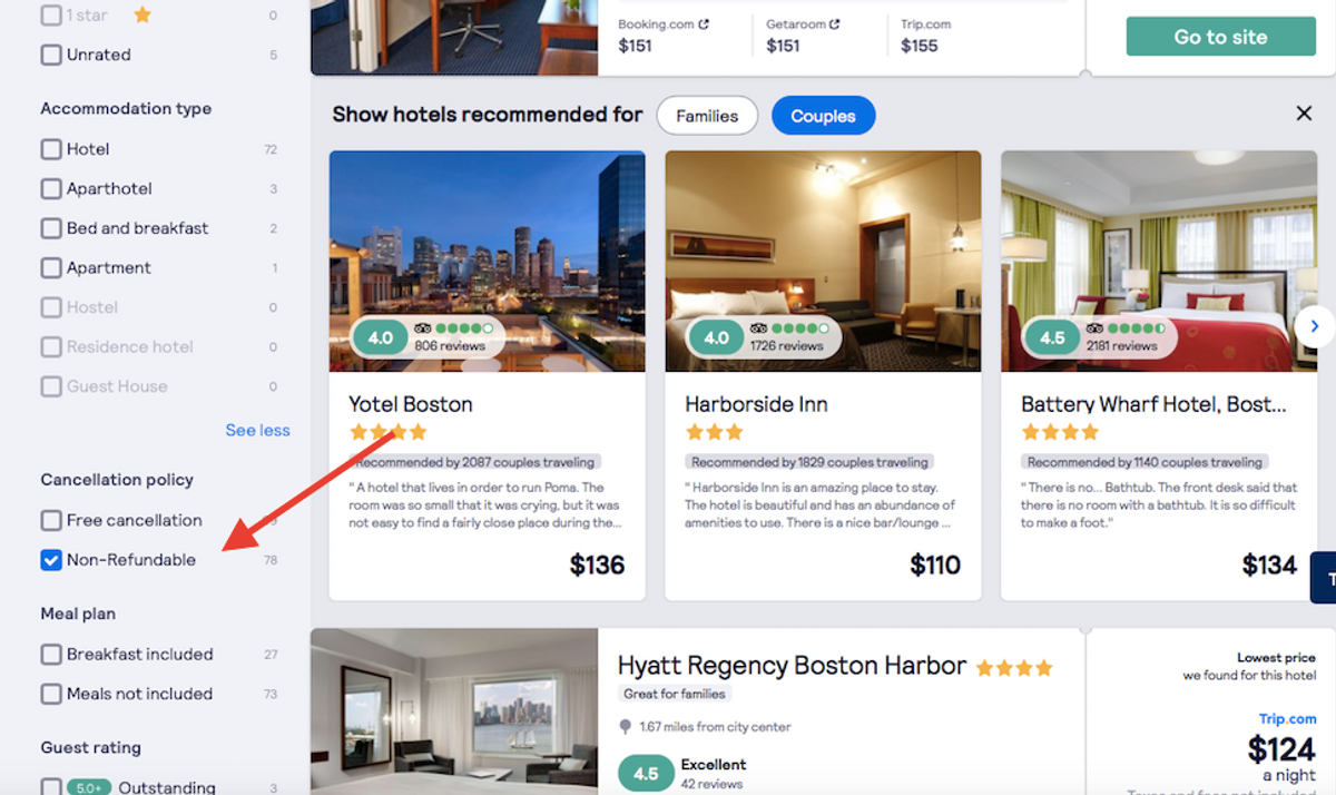 Non-refundable bookings are a great way to save on last-minute hotel deals