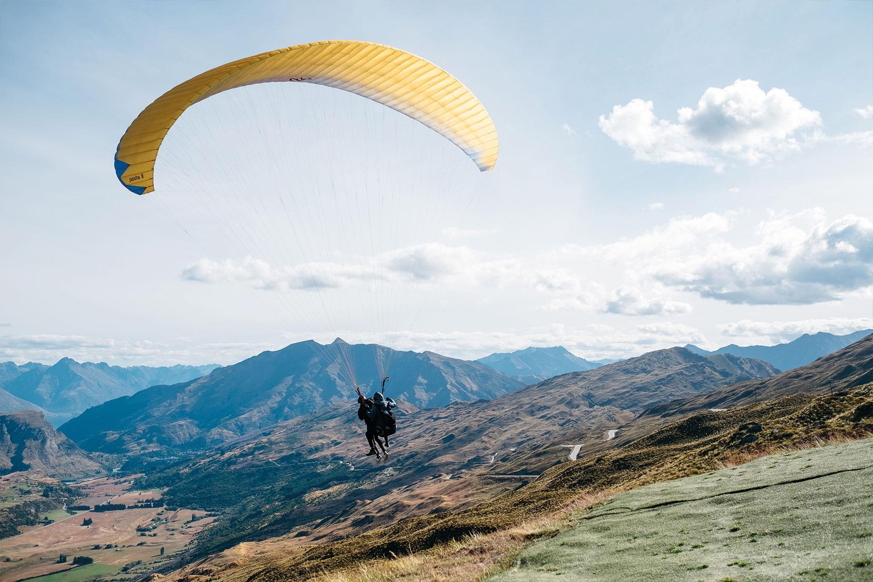 Paraglider over Queenstown New Zealand Vacation