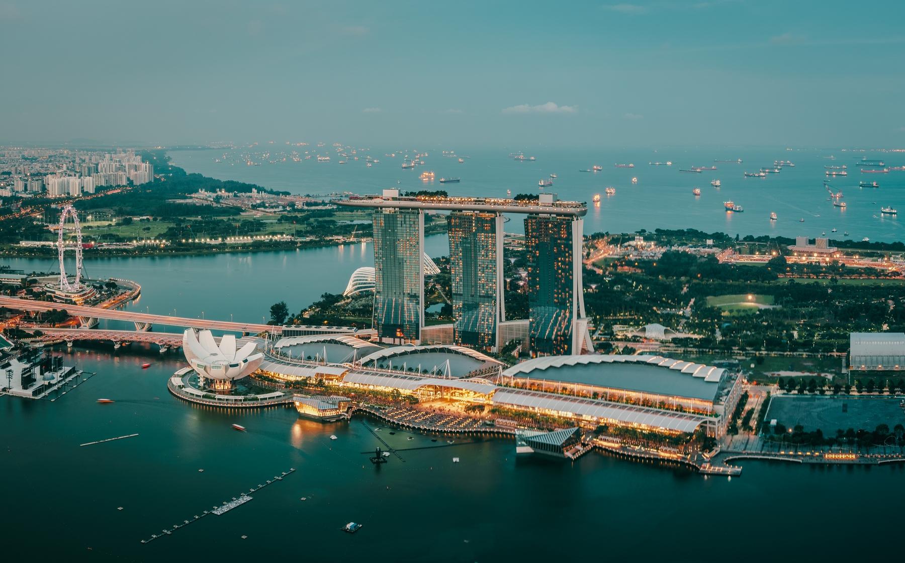City skyline of Singapore at dusk