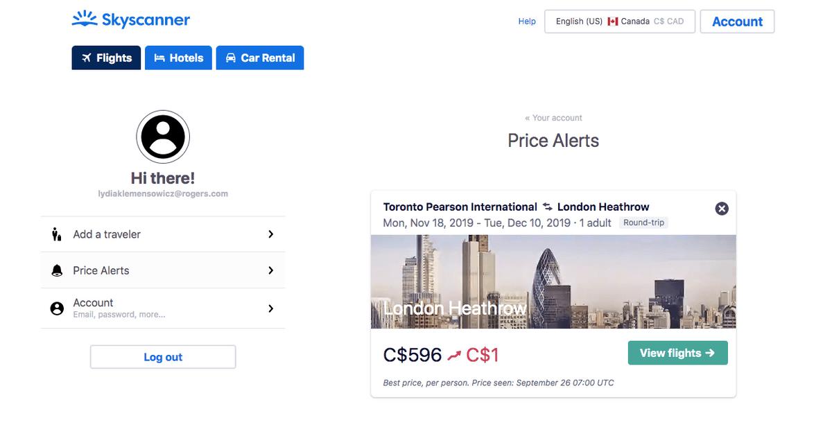 screenshot of custom price alert list in the account profile