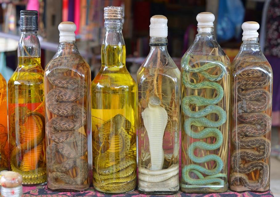A few bottles of snake wine