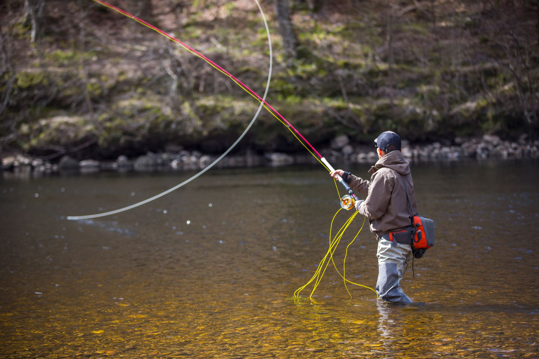 Fly fishing in the River Tay, Perth, Scotland