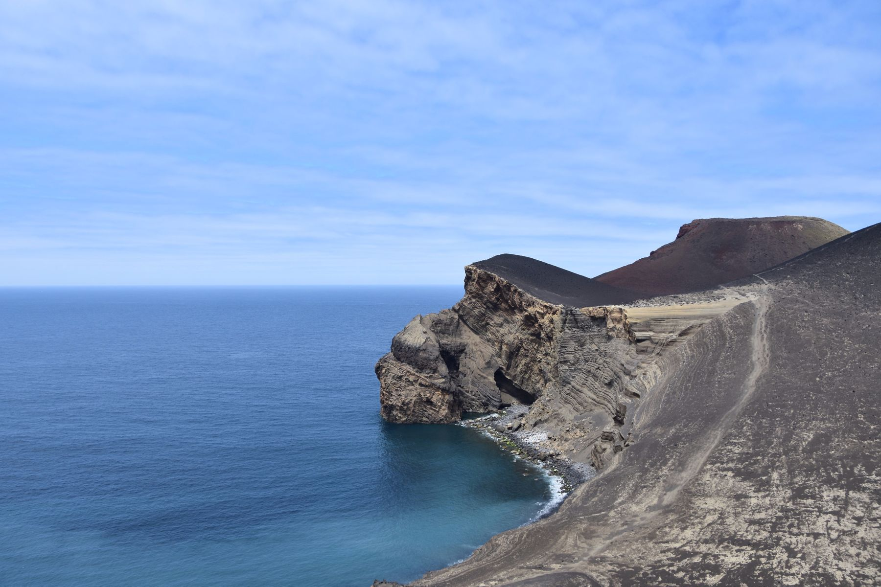 volcanic erupted part of the Faial island, Azores, Portugal next to the ocean