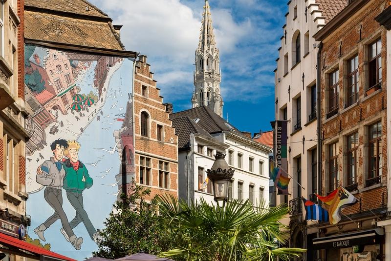 Комикс на стене дома в Брюсселе.