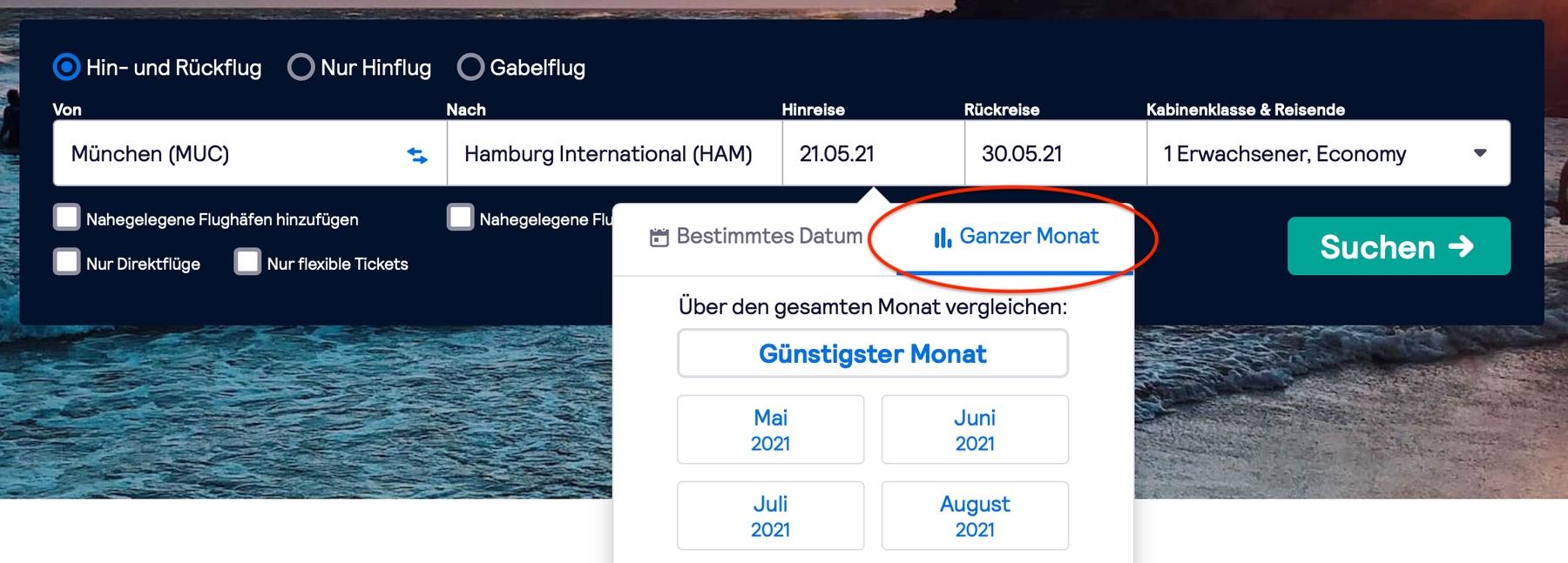 """Reise planen mit der """"Ganzer Monat""""-Suchfunktion von Skyscanner"""