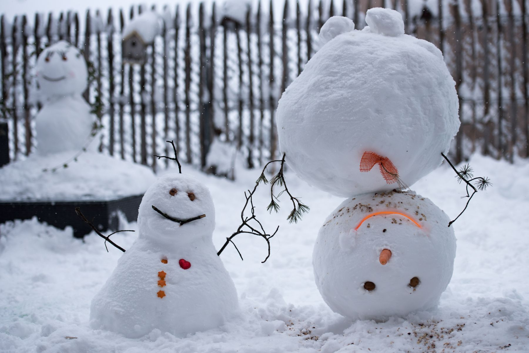 snowpeople on snowy day