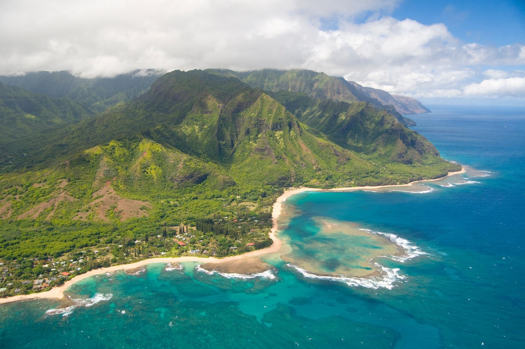 Aerial view of Hawaii coast