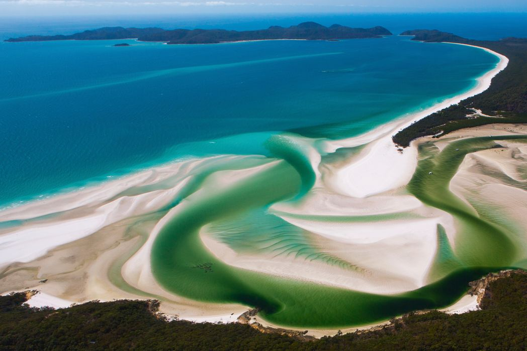 Aerial view of the dreamy Whitsunday Islands, Australia