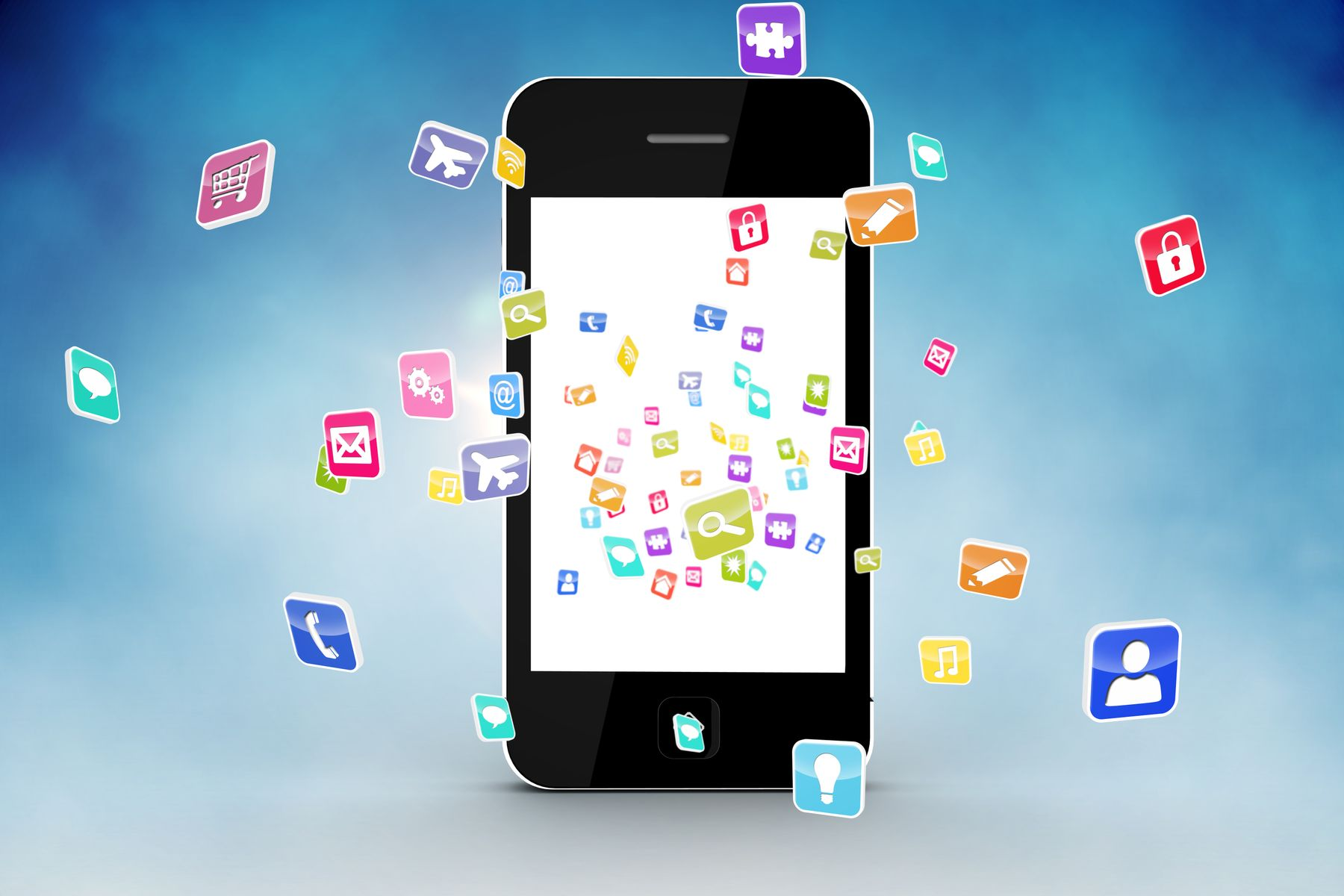 graphic of a smartphone with app icons around