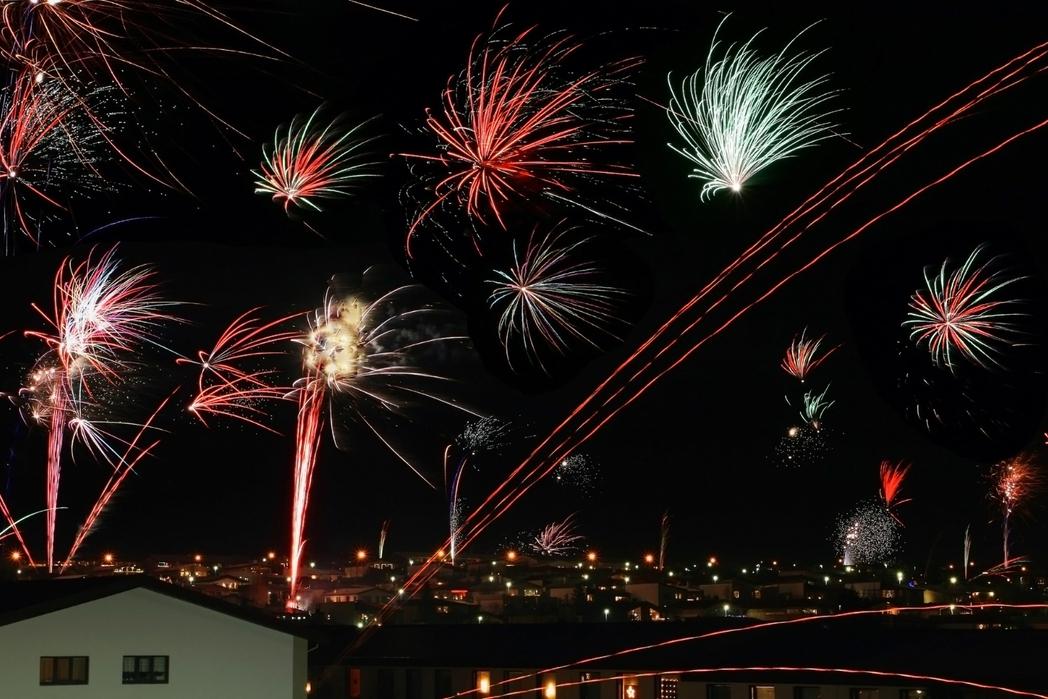 New Year fireworks in Reykjavik, Iceland