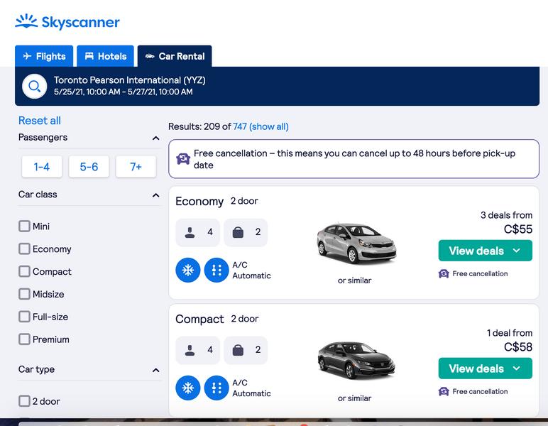 rental car booking screenshot skyscanner