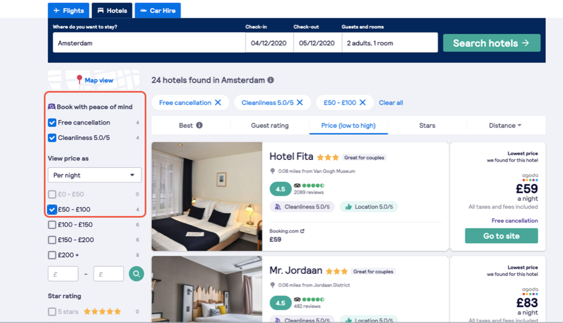 Travel safer and smarter by filtering hotels based on free cancelation and cleanliness score