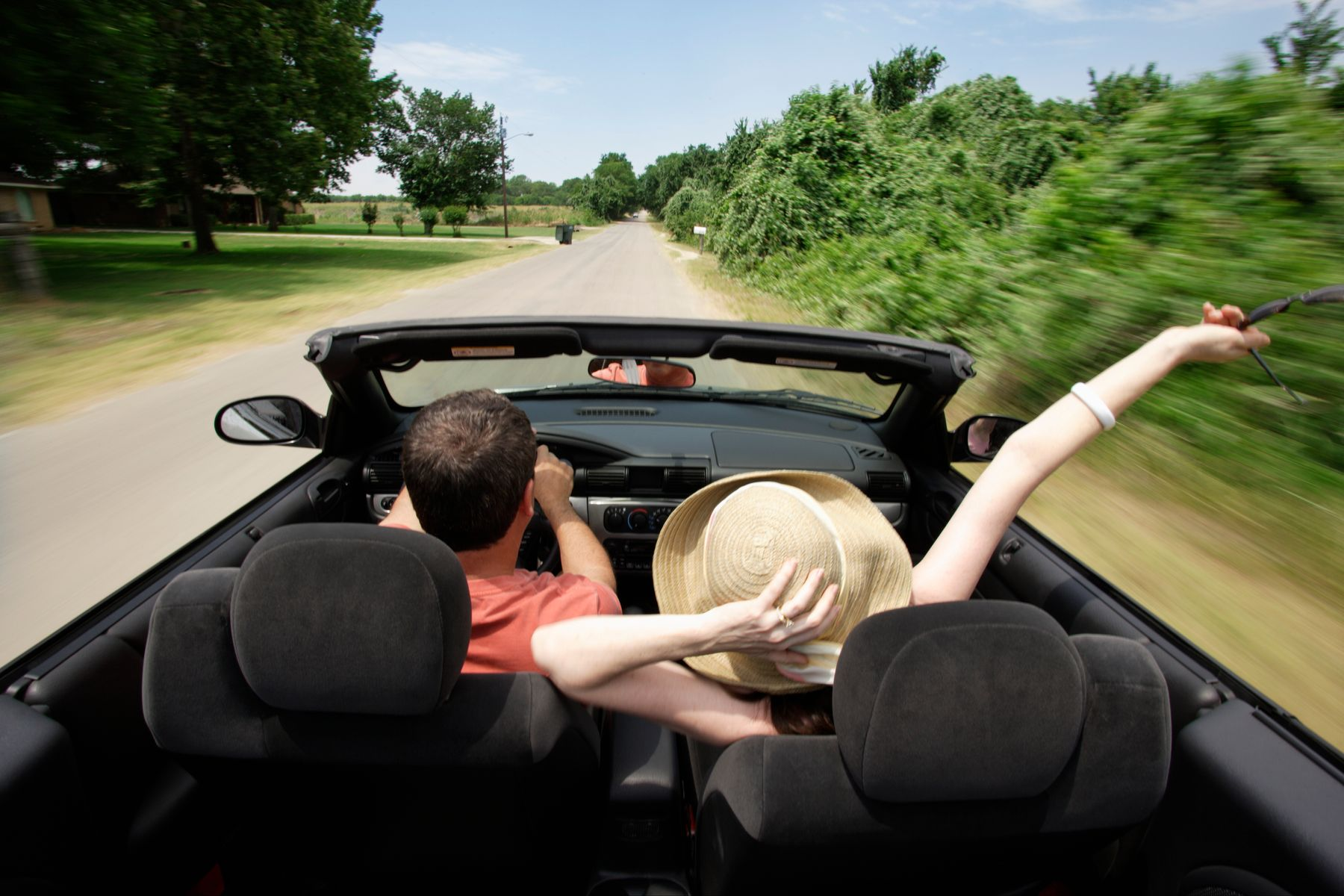 a couple traveling in a car