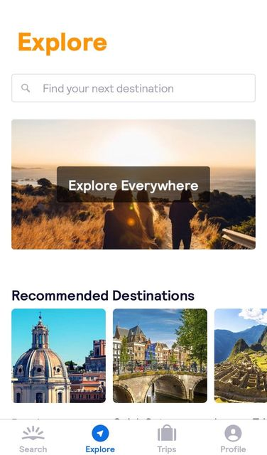 Explore section in the Skyscanner app