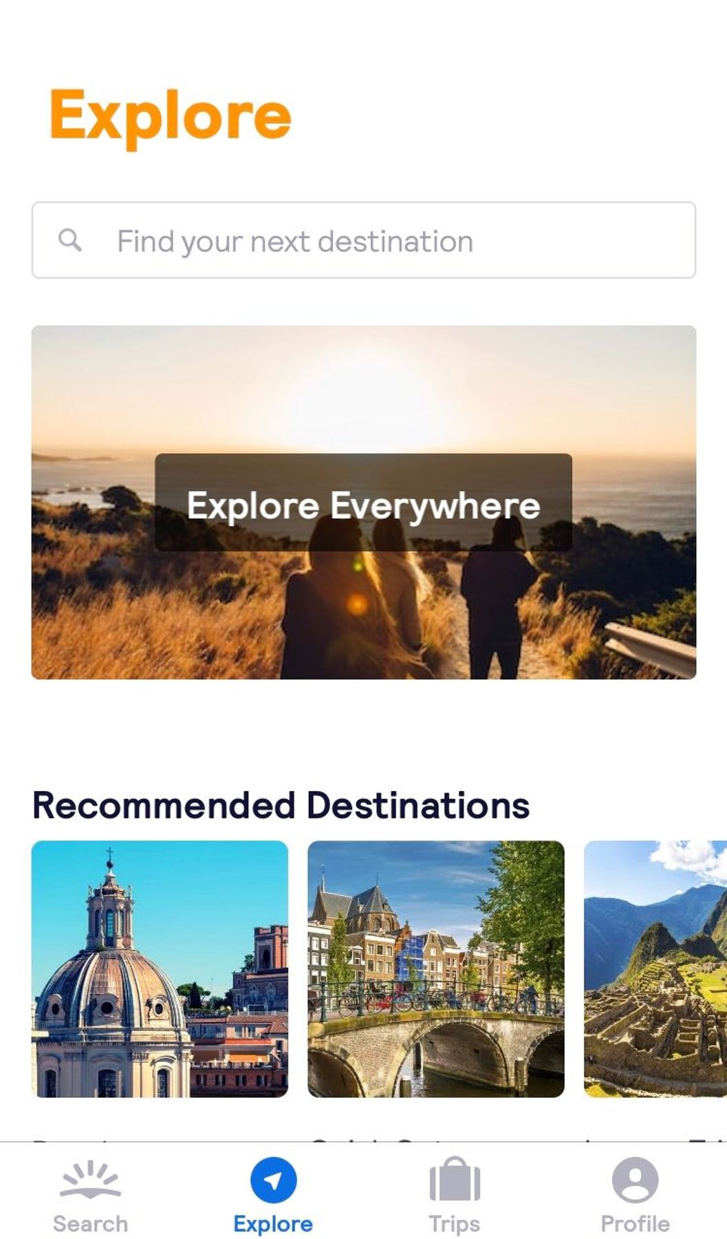 A screen grab of Skyscanner's awarded app to find flights to anywhere