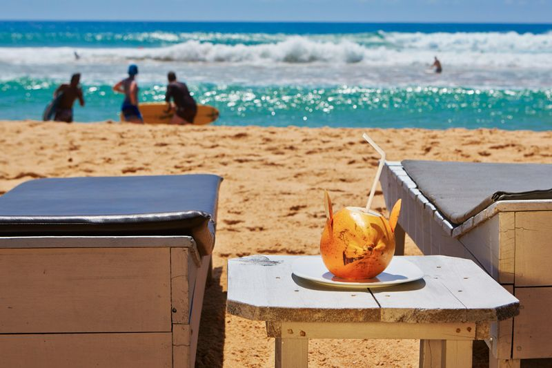 Beach with coconut drink, Sri Lanka