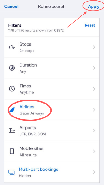 screenshot demonstrating how to filter for Qatar Airways flights on the app
