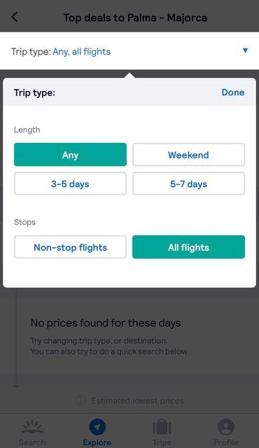 length of trip skyscanner app